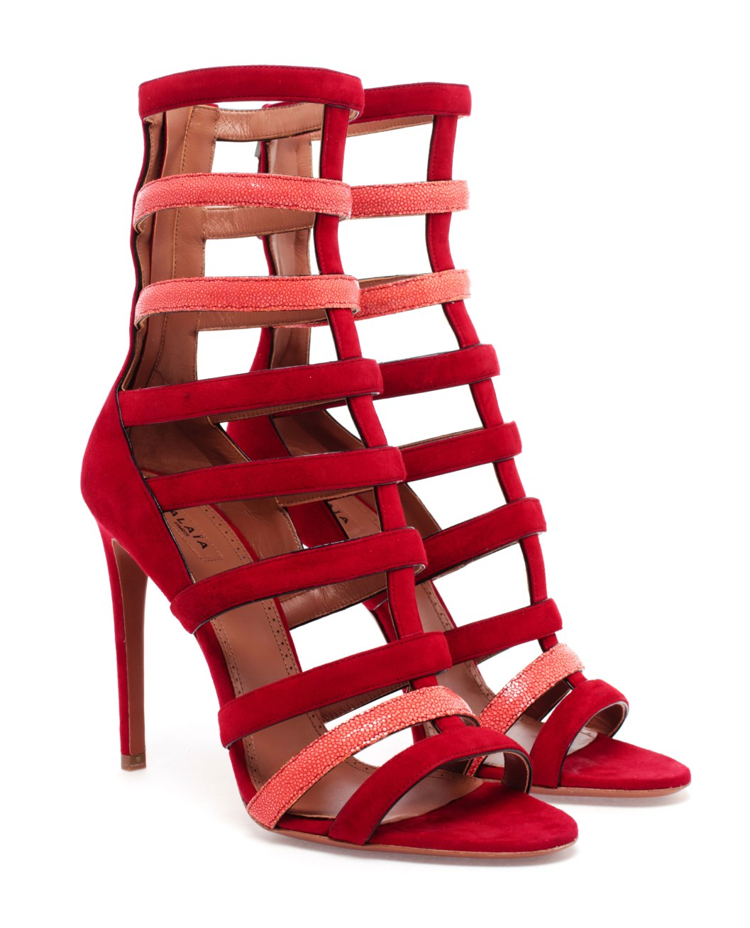 Ala 239 A Red Suede And Pink Stingray Caged Strappy Heels
