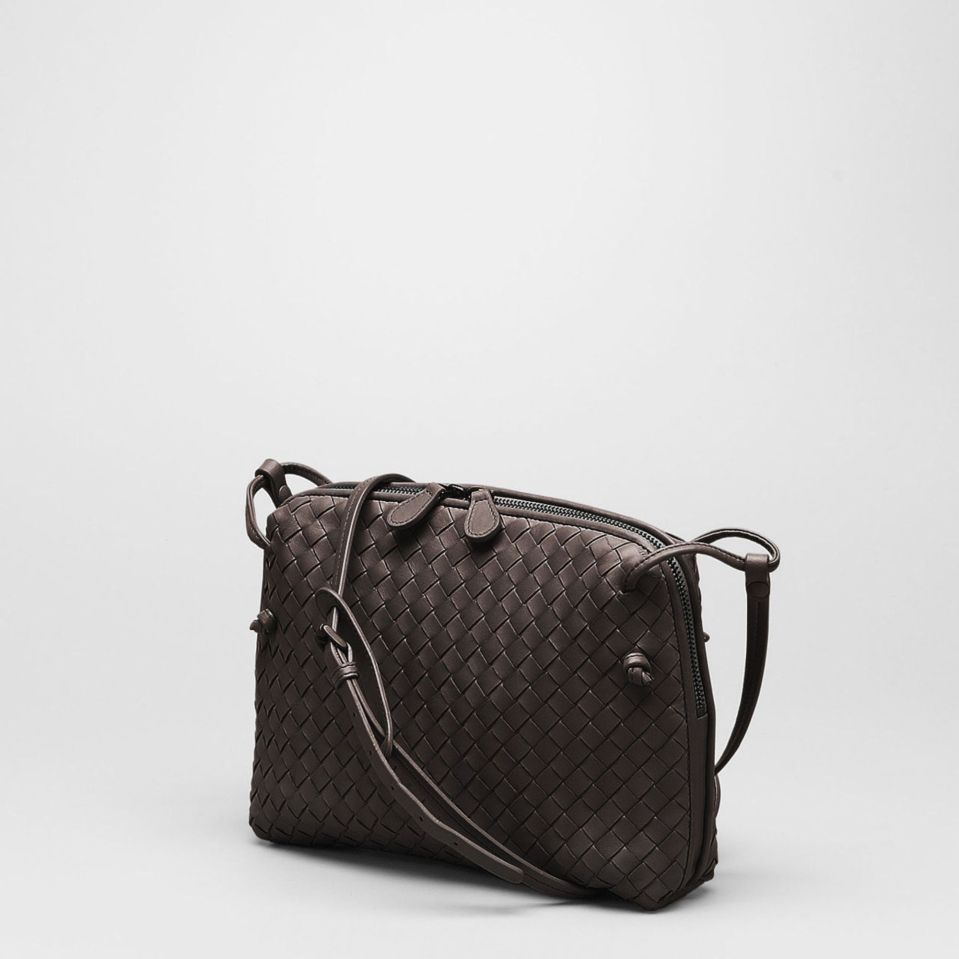 Bottega-Venetta-Intrecciato-Cross-Body-Bag-Brown