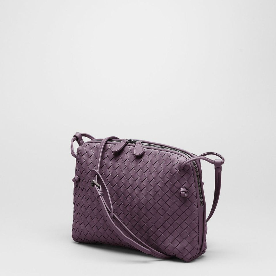 Bottega-Venetta-Intrecciato-Cross-Body-Bag-Mauve