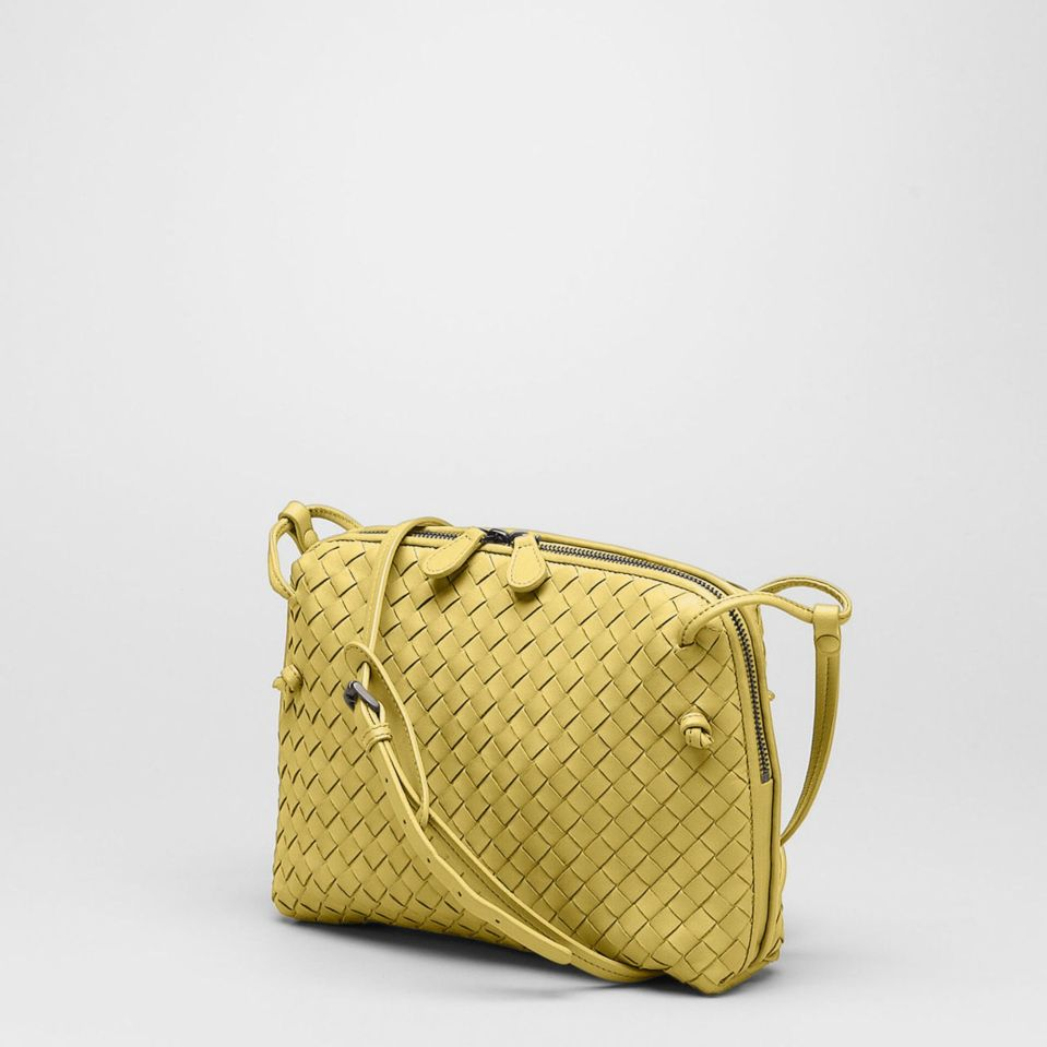 Bottega-Venetta-Intrecciato-Cross-Body-Bag-Yellow