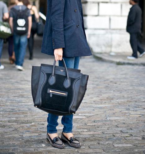 celine blue gourmette handbag