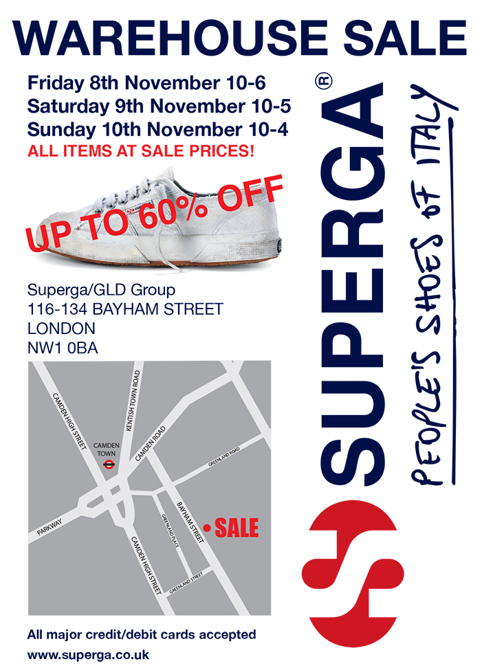 SUPERGA WAREHOUSE SALE FLYER A6