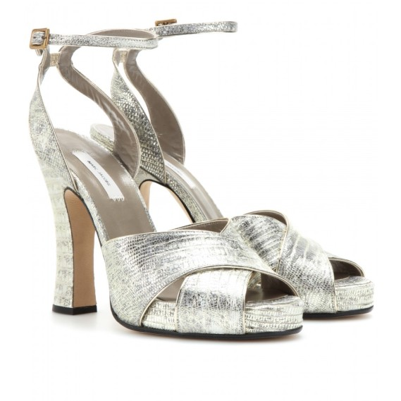 Marc-Jacobs-Metallic-snake-leather-sandals