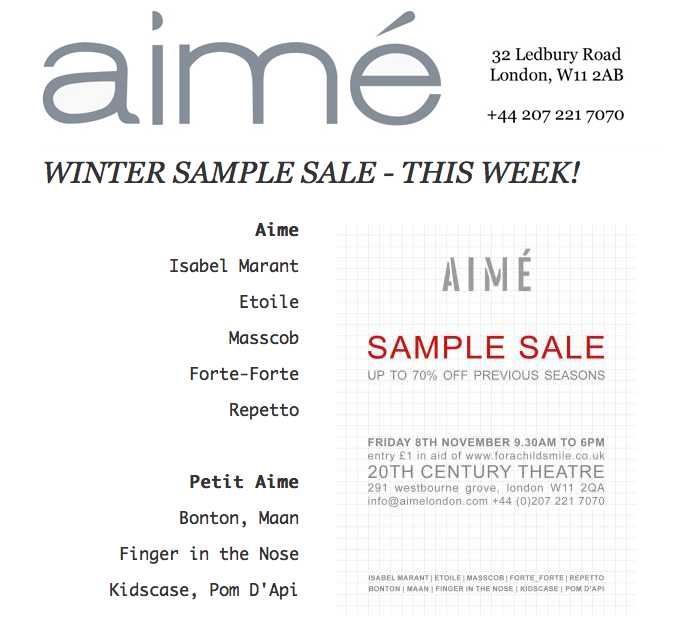 Aime Sample Sale