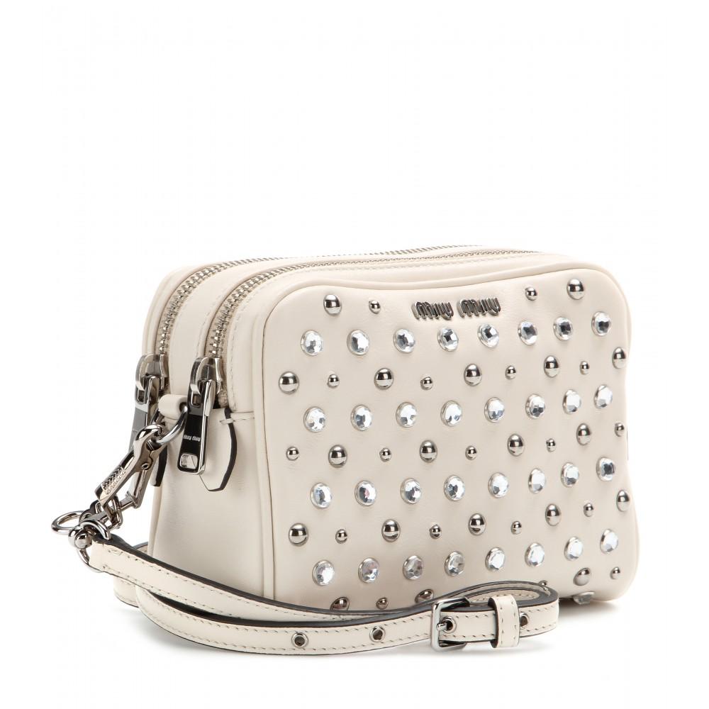 d0e076baac0a Miu Miu Embellished Leather Shoulder Bag