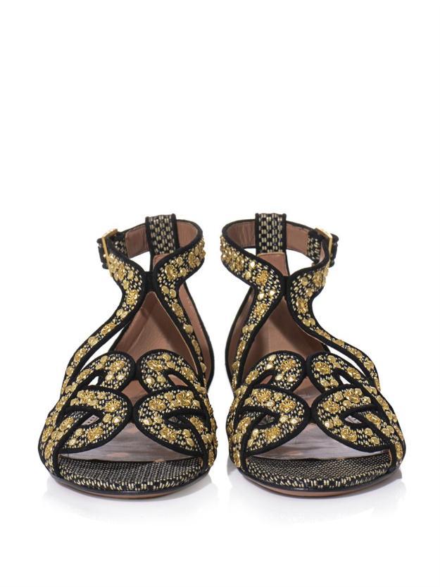 AZZEDINE ALAÏA Raffia and gold stud sandals