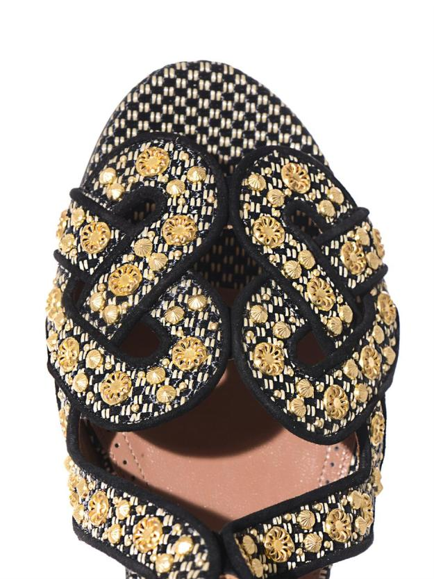 AZZEDINE ALAÏA Raffia and gold stud sandals_2
