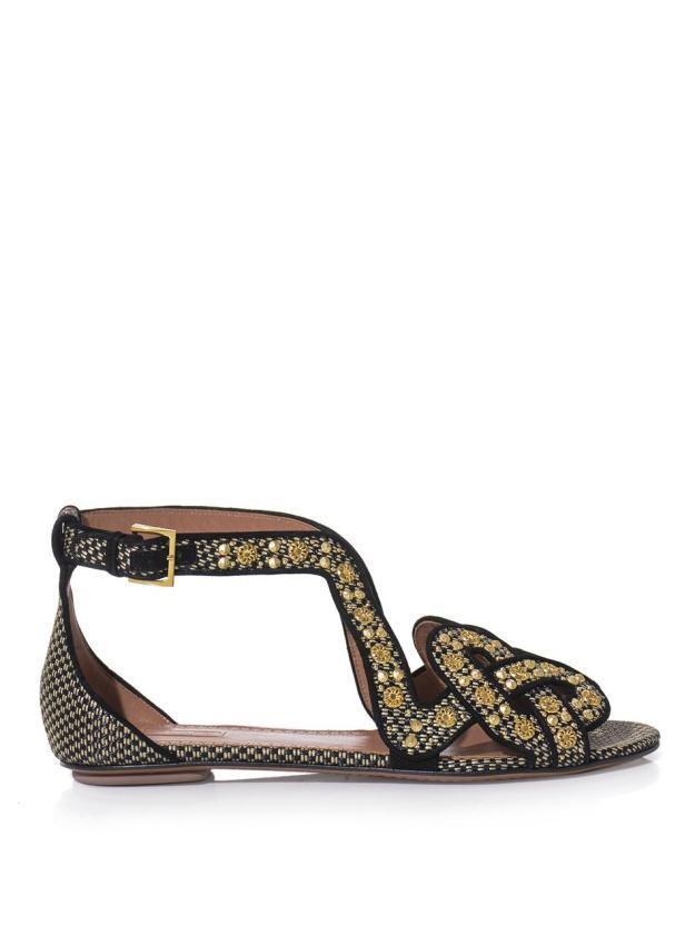 AZZEDINE ALAÏA Raffia and gold stud sandals_3