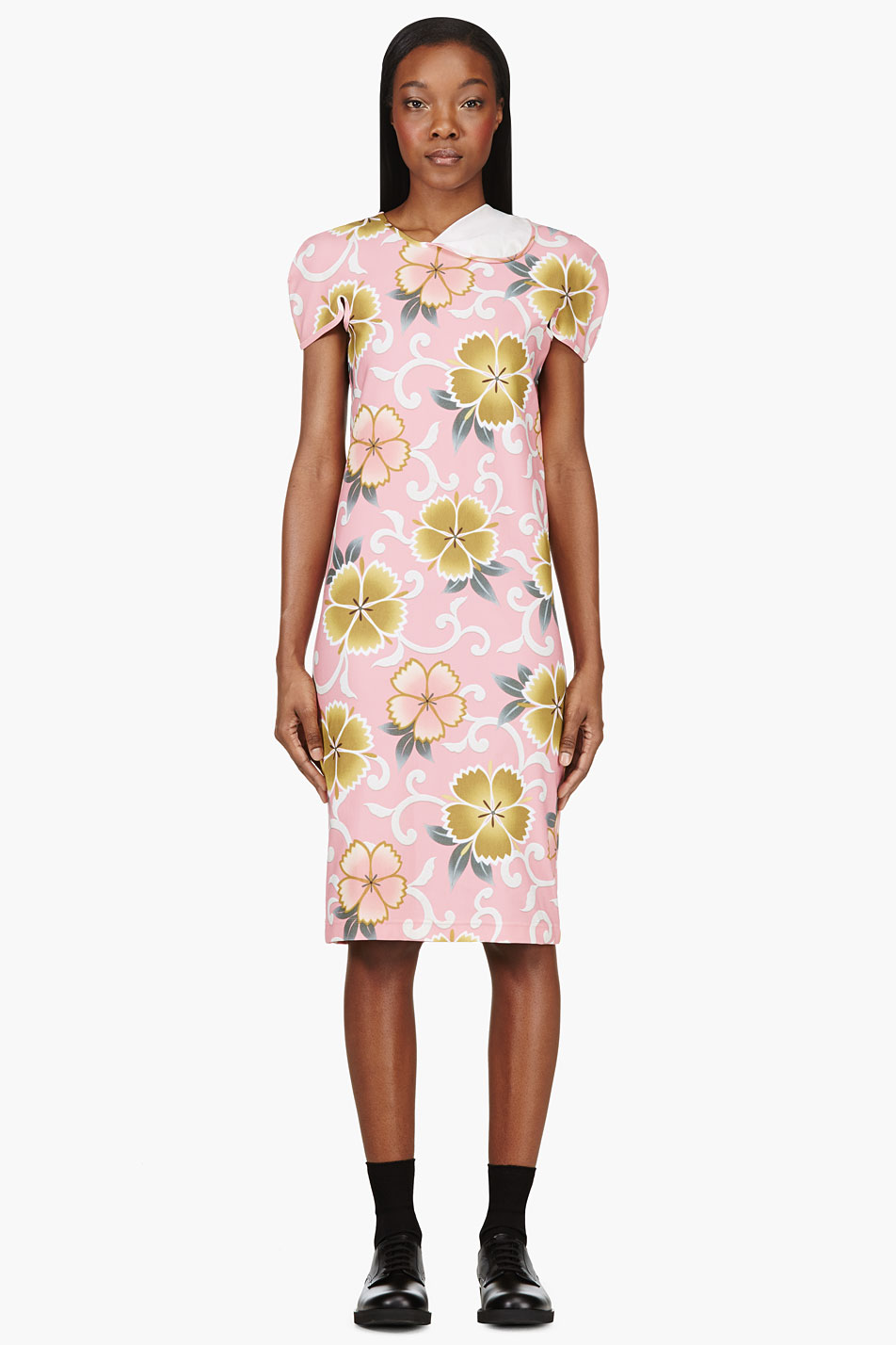 Comme-des-Garcons-Pink-Floral-Stretch-Dress