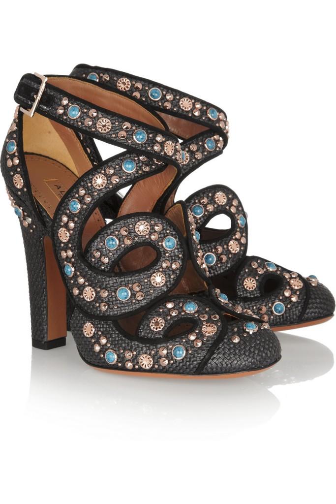 Alaia Cutout embellished raffia pumps