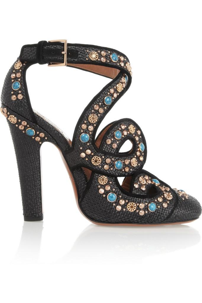 Alaia Cutout embellished raffia pumps_2