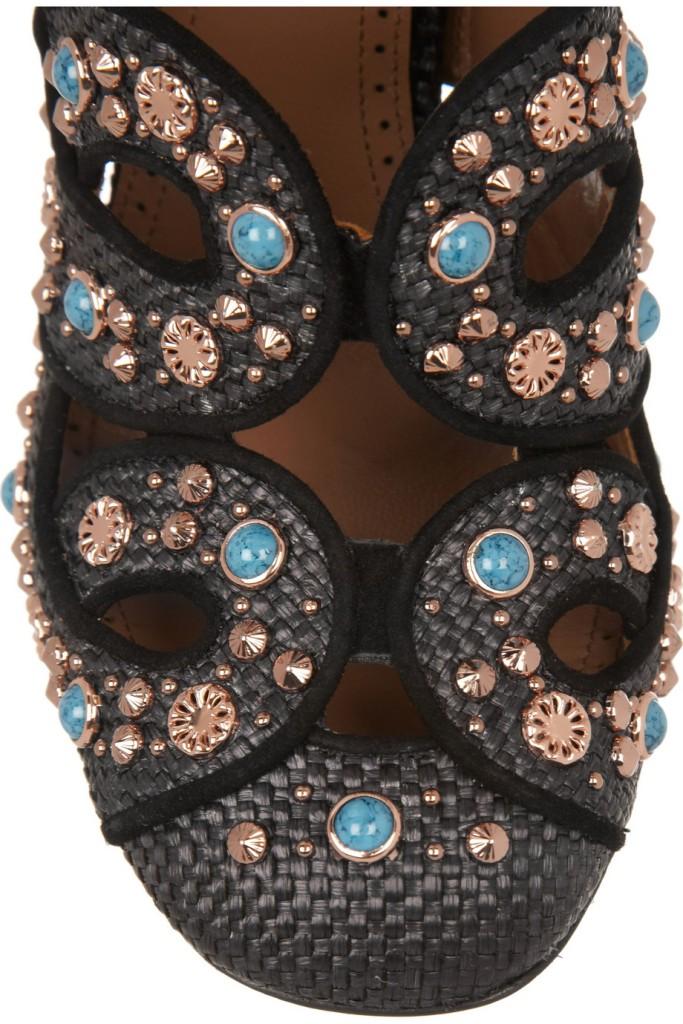 Alaia Cutout embellished raffia pumps_3